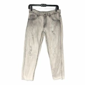 Zara White Washed Distressed Mom Jeans